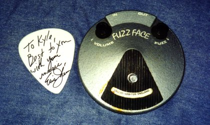 Kyle's Fuzz Face and pick that Eric signed