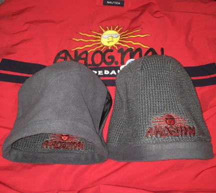Analog Man embroidered reversible knit Beanie hat